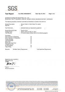ジャケットのダークグリーンの織物SGSの証明書